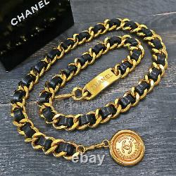 CHANEL Gold Plated & Black Leather CC Logos Vintage Chain Belt #153c Rise-on