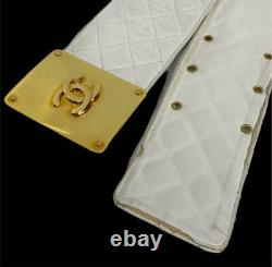 CHANEL Matrasse Logo Plate Wide Belt Gold Buckle White Accessories Vintage