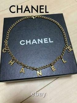 CHANEL Necklace Gold Plated Signature Letters Charms CC Logo GP Metal Authentic