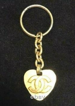 CHANEL Paris VINTAGE CC Coco Mark Heart Shape Gold Plated KEY RING Bag CHARM