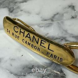 CHANEL Vintage Rue 31 Cambon Gold-Plated Logo Plaque Diamond Link Belt XXS