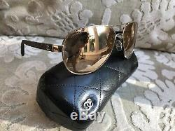 CHANEL18ct Gold Plated Mirrored Sunglasses Aviator Pilot 4207 c. 395/T6 New $595
