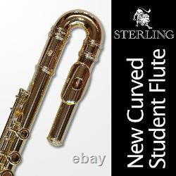 CURVED Gold-Plated C-Foot Flute NEW STERLING Perfect for smaller student