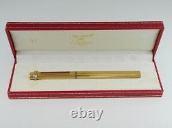 Cartier Vendome Oval Gold Plated Red Clip Ballpoint Pen with Box FREE SHIPPING