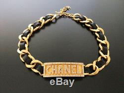 Chanel Vintage, 18k Gold-plate, Leather and Metal Rhinestone, Choker Necklace