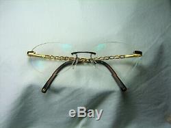 Chanel eyeglasses rimless oval round Gold plated Titanium frames vintage