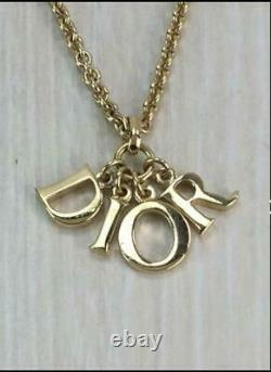Christian Dior CD Logo Gold Plated Color Necklace Pendant Vintage NO BOX GP Used