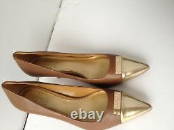 Cinnamon Brown Zan TMBL Glz Leather Gold Toe Signature Plate Pumps A4580 7.5