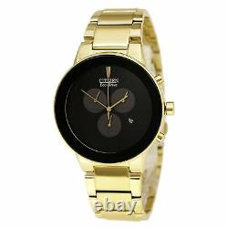 Citizen AT2242-55E Men's Axiom Eco-Drive Black Dial Gold Plated Steel Bracelet C