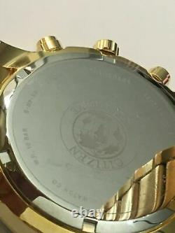 Citizen Eco Drive Mens Brycen Gold Plated Stainless Chronograph Watch Bl5512-59P