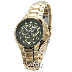 Citizen Men's Watch AT0902-59E Gold Plated Eco Drive Chronograph NEW