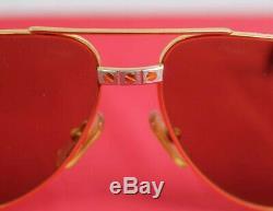 Classic Cartier 22ct Gold Plated Santos Vendome Vintage Aviator Sunglasses