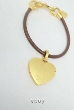 Coach Leather Removable Picture Heart Locket Bracelet Gold Plated Very Rare