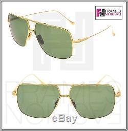 DITA FLIGHT 005 Square 18K Gold Plated Green DRX7805 Titanium Sunglasses 7805