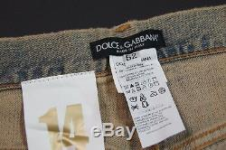 DOLCE&GABBANA'14 GOLD' Slim Straight Metal Plate Stone Wash Jeans NEW NWT