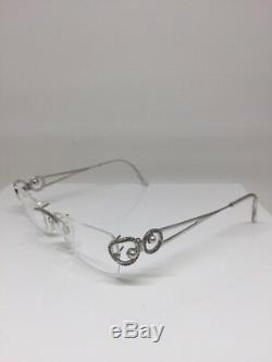 Daniel Swarovski Crystal Rimless Eyeglass Frame Pearls S220 23 KT Gold Plated GP