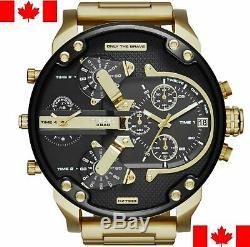 Diesel Mens DZ7333 DADDY 2.0 Black Dial Gold Metal Strap Chronograph Wrist Watch