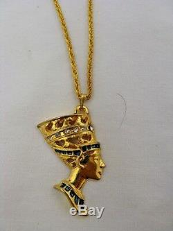 Egyptian Gold Plated Metal Queen Nefertiti Necklace Chain 1.5 Great Quality
