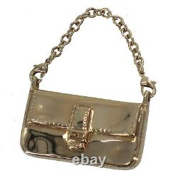 FENDI Keyring Bag Charm Gold Plated Metal Vintage Italy Authentic #OO385 O