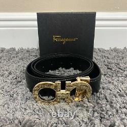 Ferragamo Belt Golden-Plated Buckle For Men Size 32-34-36-38 / 110-115cm