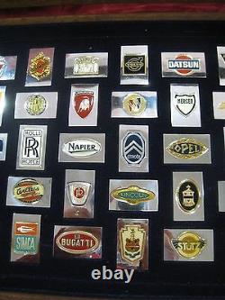Franklin Mint Automobile Car 50 Emblems Sterling Silver 24k Gold Plated Ingots
