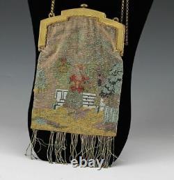 French Micro Hand Beaded Fringe Handbag Purse Gold Plated Metal Frame, c1890