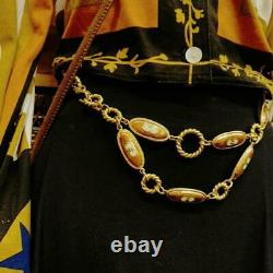 GUCCI Belt Old Gold GP Chain Oval Logo Plate authentic