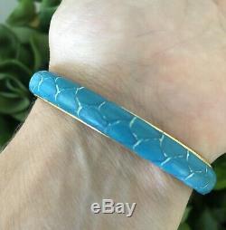 GUCCI Bracelet Vintage, Snakeskin 24 KT. Gold-Plated, Turquoise in color