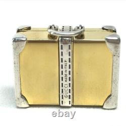 GUCCI Old Gucci Trunk Bag Charm Key Holder Gold Plated / Metal Silver x Gold