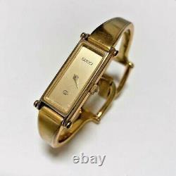 GUCCI Vintage 1500 Quartz Swiss Ladies Bangle Watch Wrist Gold Plated Dial