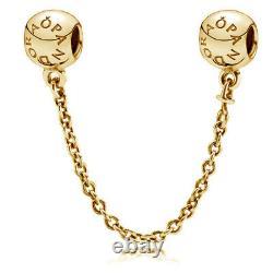 Genuine PANDORA Logo Signature Safety Chain 14K Gold Vermeil Plated 791877