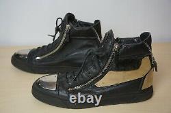 Giuseppe Zanotti Black Leather Gold Tone Metal Plate Fashion Sneakers Sz 45 12