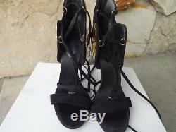 Giuseppe Zanotti Gold Plated Lace Up Sandals Size EU 38.5