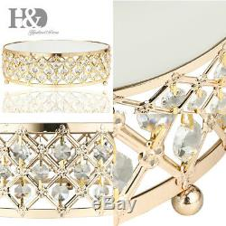 Gold Crystal Beads Metal Wedding Birthday Party Dessert Cake Stand Display Plate