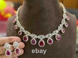 Gold Plated Indian Bollywood CZ AD Chain Jewelry Necklace Earrings Red Ruby Set