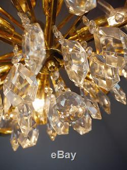 Gold Plated PALWA CHANDELIER Bubbles PENDANT LAMP Crystal Glass, Germany 1960s