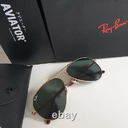 Gold plated RAY-BAN TITANIUM Aviators sunglasses RB8125 913658 Made In Japan
