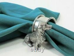 Golden Retriever Dog Figural Silver Plate Napkin Ring