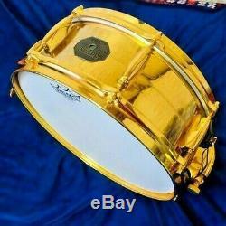 Gretsch 4160G 24 Karat Gold Plated Metal Snare Drum Engraved 5x14 Seamless Brass