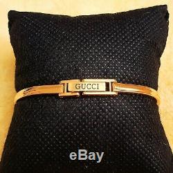 Gucci 11/12.2 18k GP Women's Bangle Watch with Diamond Cut metal Bezel (NR439)