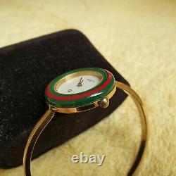Gucci 1100-L 18K Gold Plated Women's Interchangeable Bezel Watch 26 mm (NR749)