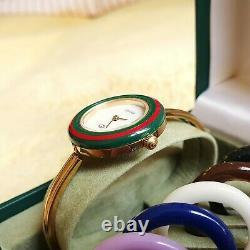 Gucci 1100-L 18K Gold Plated Women's Interchangeable Bezel Watch 26 mm (NR753)