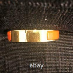 HERMES CLIC CLAC H Bracelet Bangle Cuff Orange Enamel Gold Plate Used NO BOX