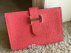 HERMES goatskin Bearn card holder with gusset and gold plated H tab closure Case