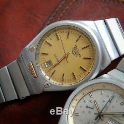 HEUER Vintage 1970 Kentucky Quartz ETA ESA 9362 All Original Bi-Metal Steel Gold