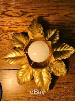 Hans Kogl Genuine Gold Plated Flush Metal Flower Light Vintage