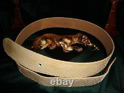 Haute Couture Christopher Ross 24kt Gold Plate Crouching Panther Belt Buckle'85