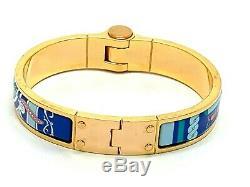 Hermes Paris France Authentic Gold Plated Enamel Hinged Women's Bangle Bracelet
