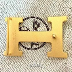 Hermes Plated Gold Calandre Strie Buckle H 32mm, New