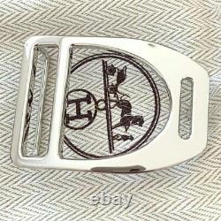 Hermes Plated Silver ETRIER Buckle H 32mm, New in Pochette and White Box